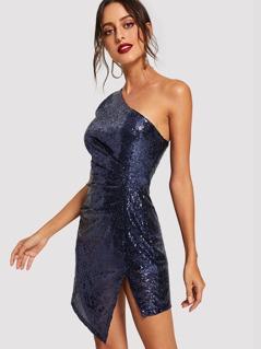 Slit Side One Shoulder Ruched Sequin Dress