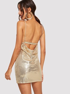 Surplice Neck Sequin Cami Dress