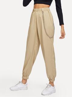 Chain Detail Elastic Waist Pants
