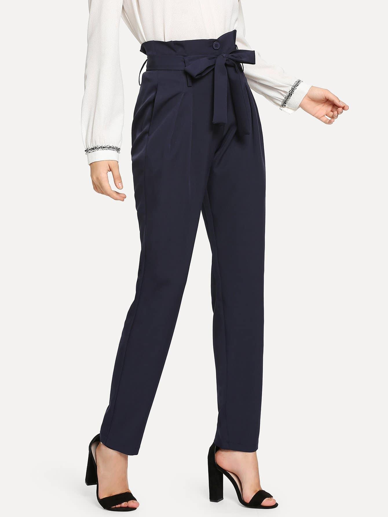 Купить Твердые брюки с поясом, Jana, SheIn