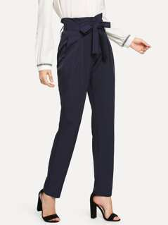 High Waist Belted Tailored Pants