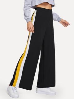 Waist Elastic Striped Pants