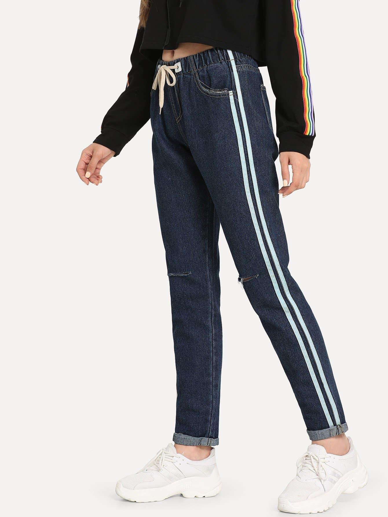 Купить Рваные джинсы в полоску сбоку, Jana, SheIn