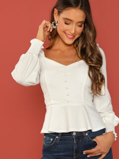 Button Through Shirred Peplum Tea Top