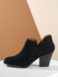 Split Shaft Stacked Heel Almond Toe Ankle Booties