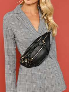 Multi Pocket Bum Bag With Chain Link Waistband