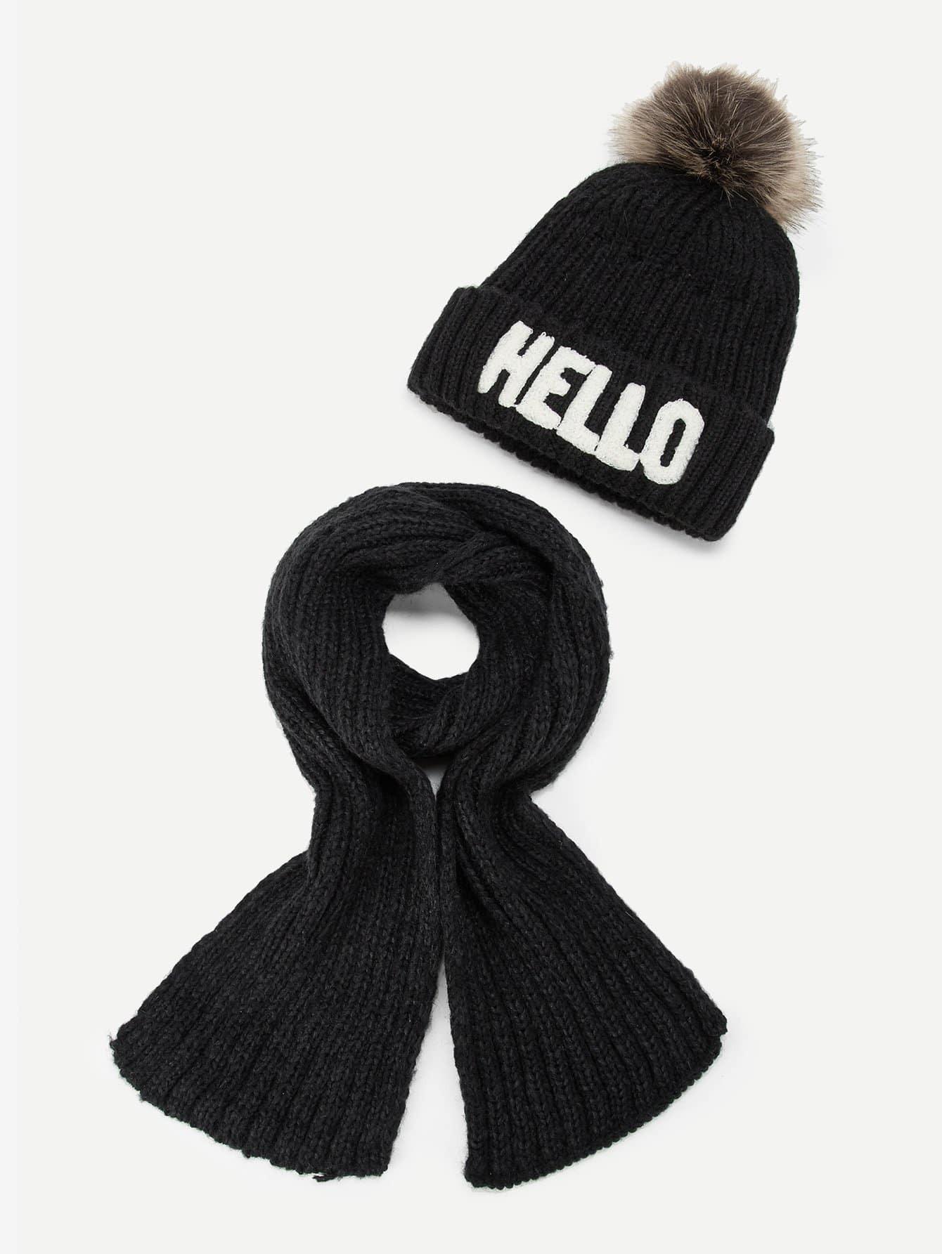 Купить Детский шарф с помпоном и шапочки шляпа, null, SheIn