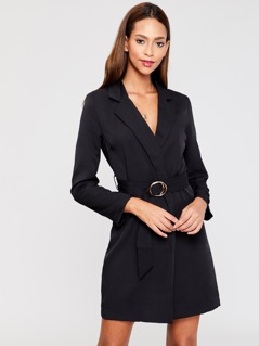 Double Ring Belt Blazer Dress