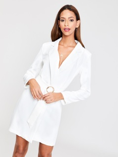 O-Ring Belt Blazer Dress