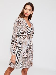 Mixed Print Buttoned Dress