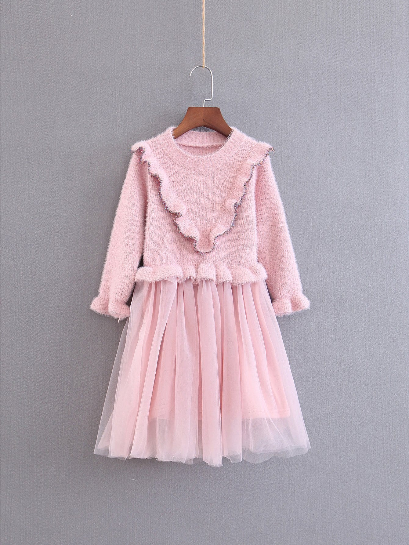 Фото - Для девочек твердое сетчатое платье от SheIn цвет розовые