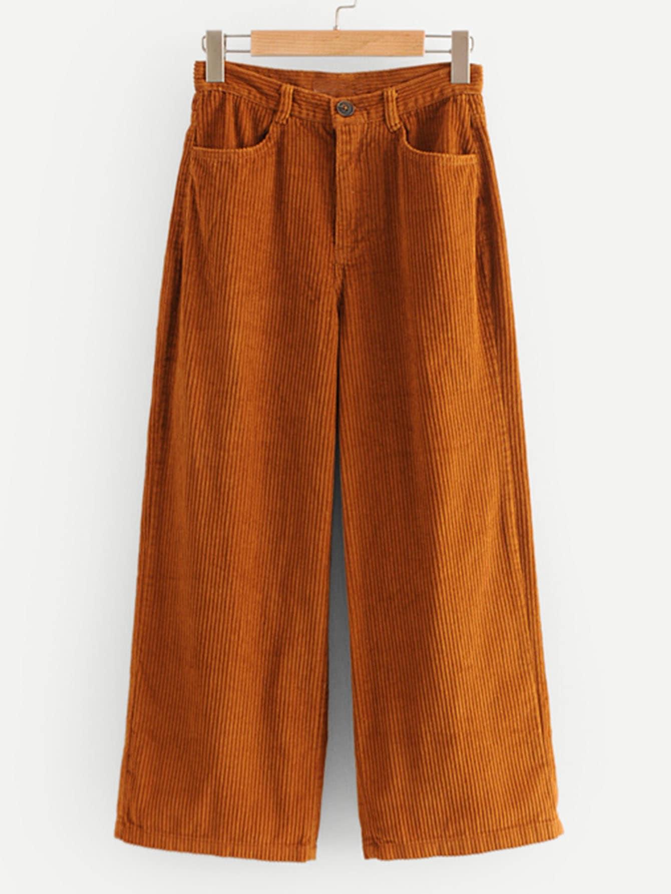 Фото - Широкие вельветовые брюки от SheIn цвет желтовато бурый