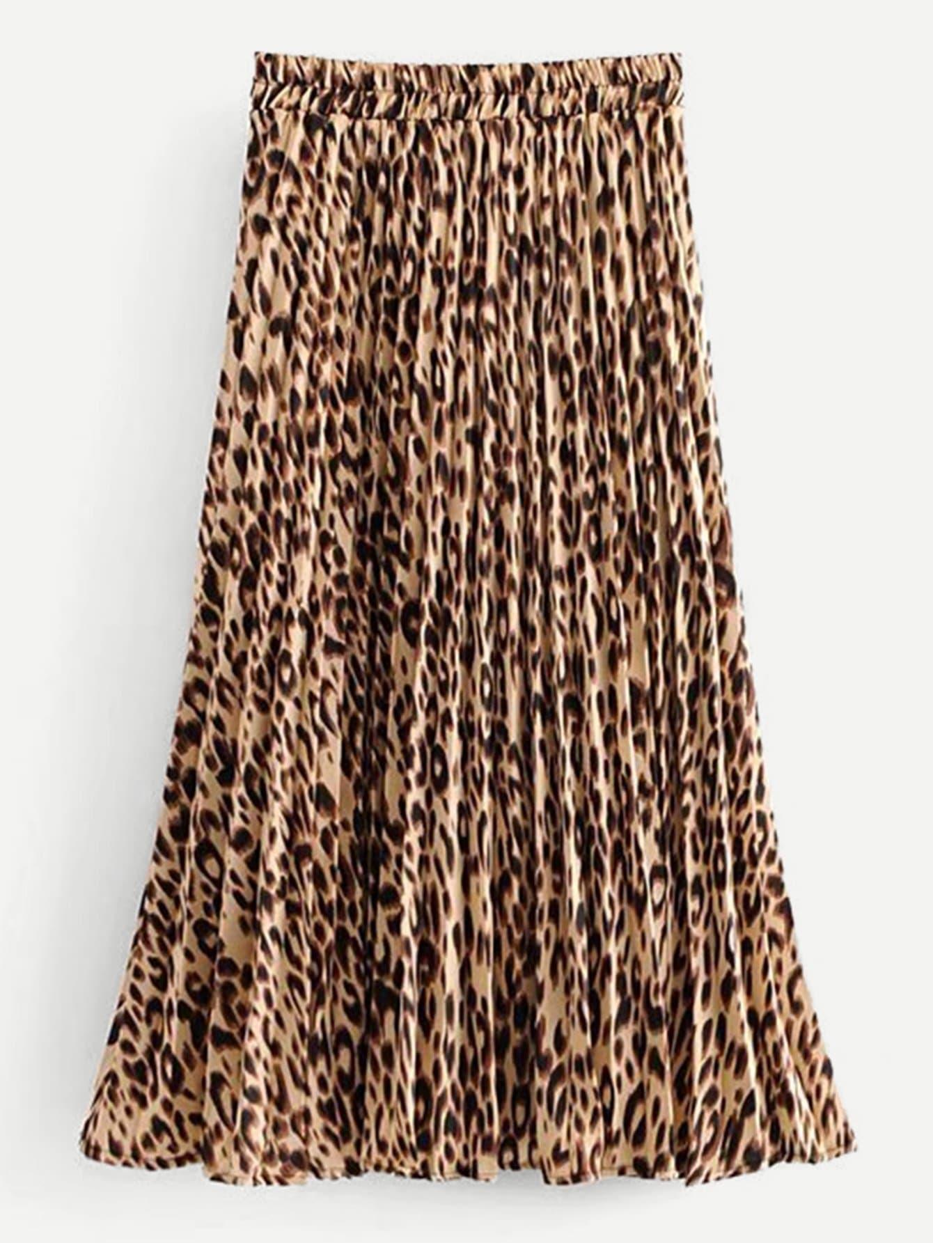 Фото - Леопардовая юбка со складками от SheIn цвет многоцветный