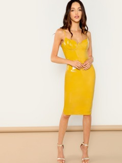 Sleeveless Bodycon Vinyl Underwire Cup Midi Dress