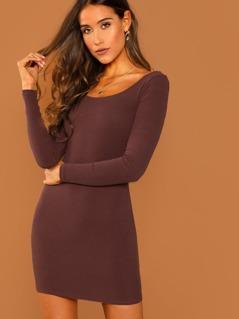 Round Neck Long Sleeve Bodycon Jersey Knit Dress