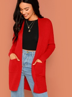 Open Front Cozy Knit Pocket Cardigan