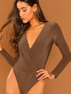 Surplice Neckline Long Sleeve Bodysuit