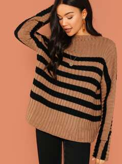 Striped Rib Knit Pullover Sweater