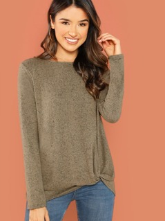 Brushed Knit Side Knot Detail Long Sleeve Sweater