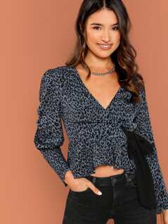 Waist Tie V-Neck Leopard Print Puff Sleeve Blouse