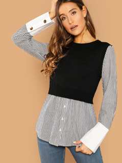 Sweater Vest Layered Striped Long Sleeve Shirt