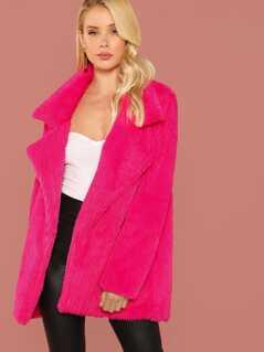Neon Pink Notch Collar Faux Fur Coat