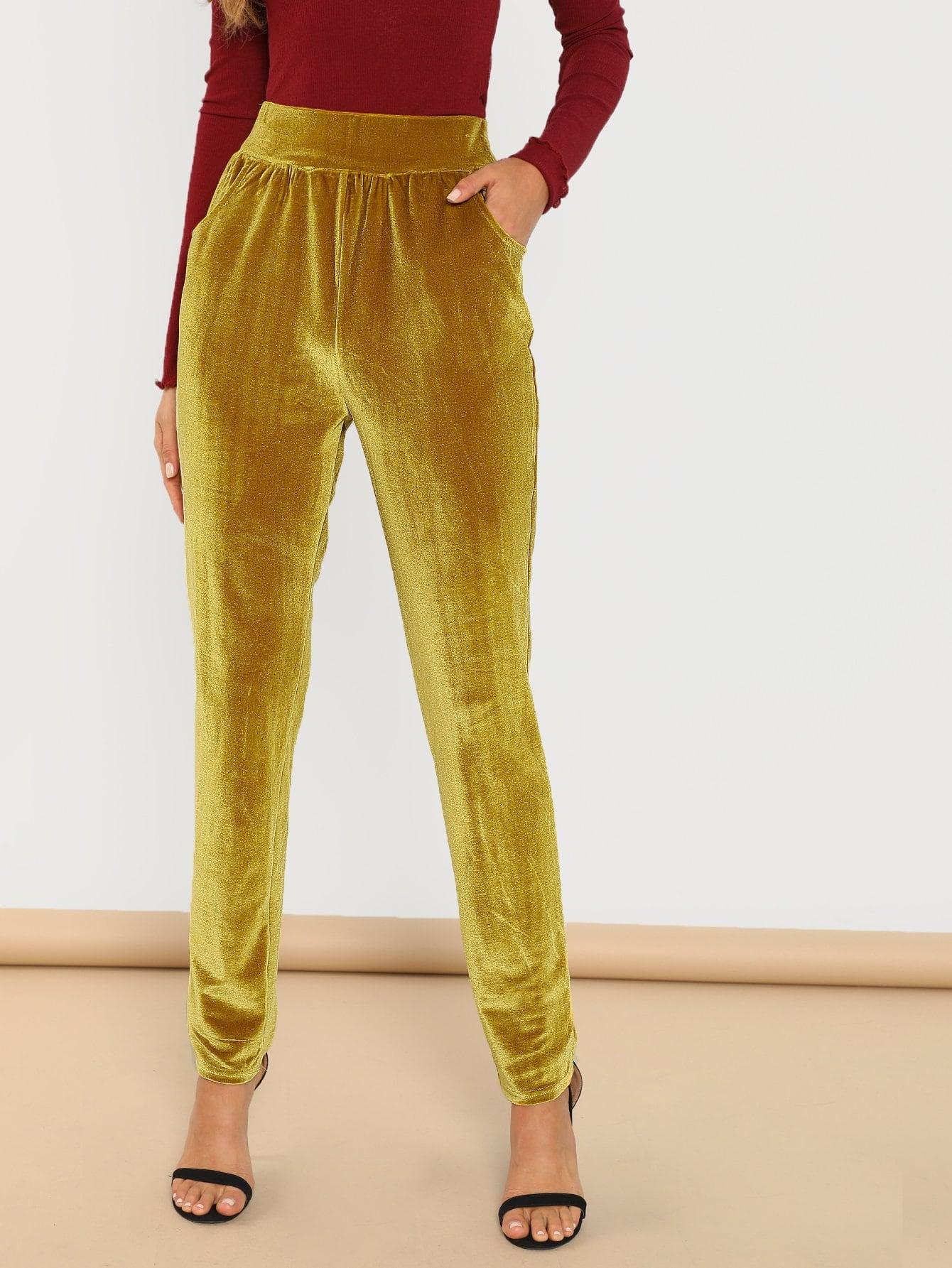 Купить Бархатные брюки с украшением кармана, Anna Herrin, SheIn