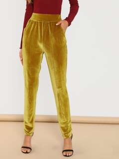 Pocket Front Velvet Cigarette Pants