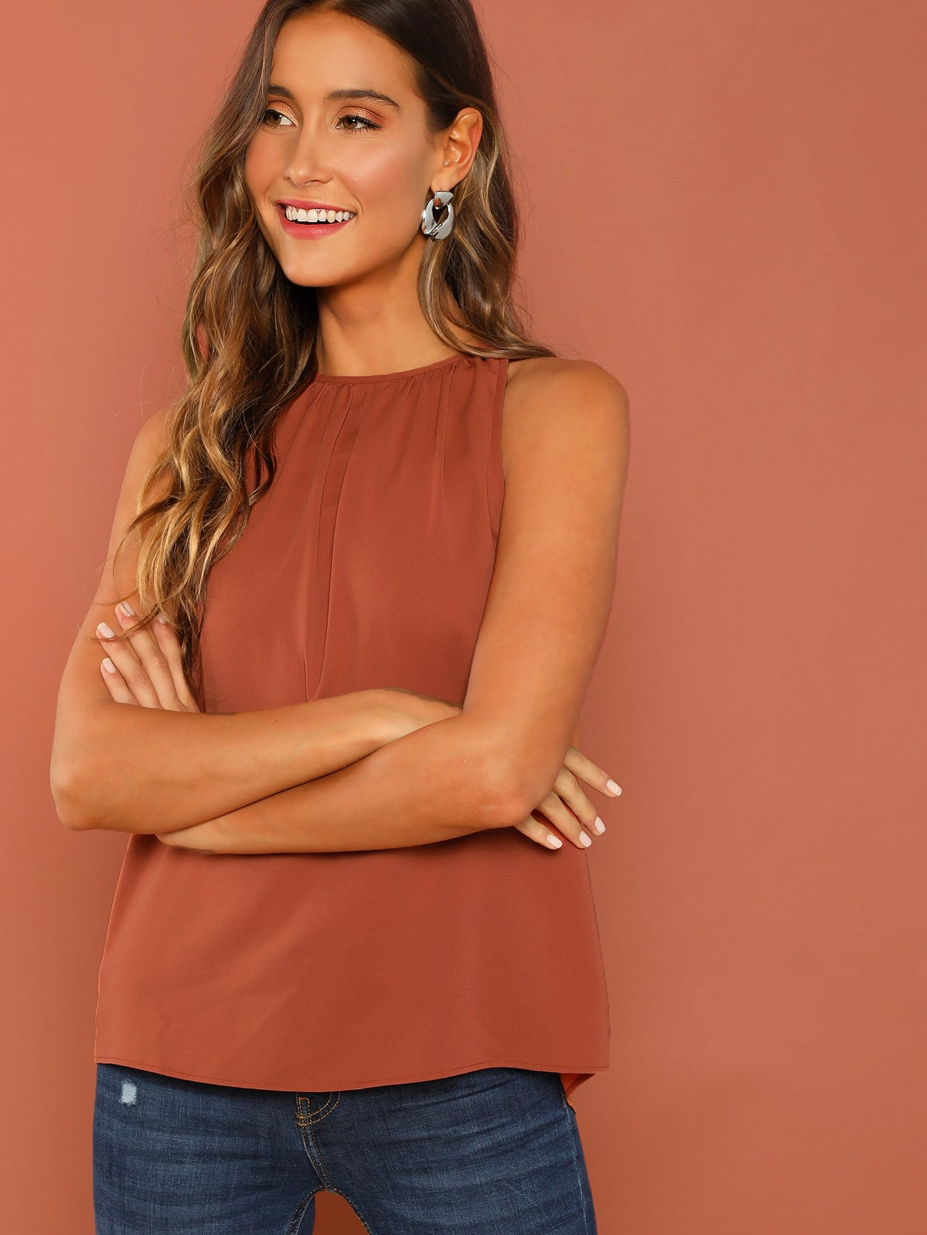 Solid Swing Shell Top
