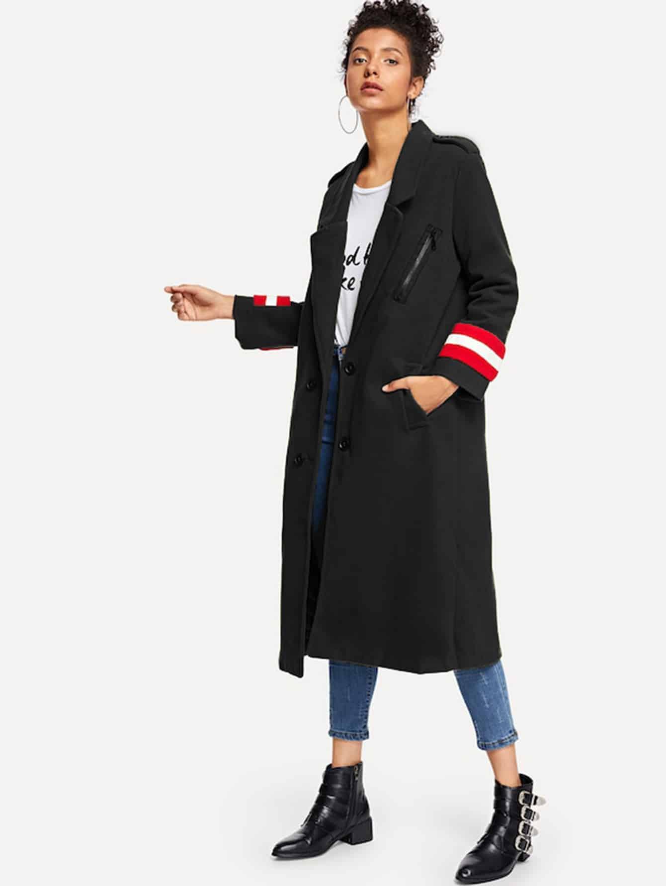 Фото - Двубортноое пальто рукав в полоску от SheIn черного цвета