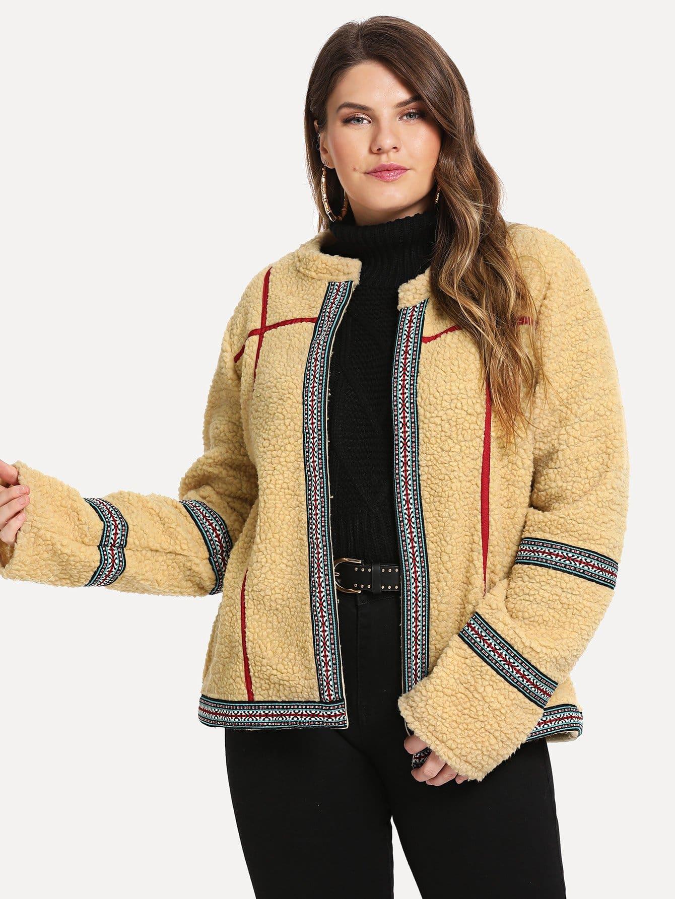 Фото - Размера плюс пальто тедди с вышивкой и лентами от SheIn цвета хаки