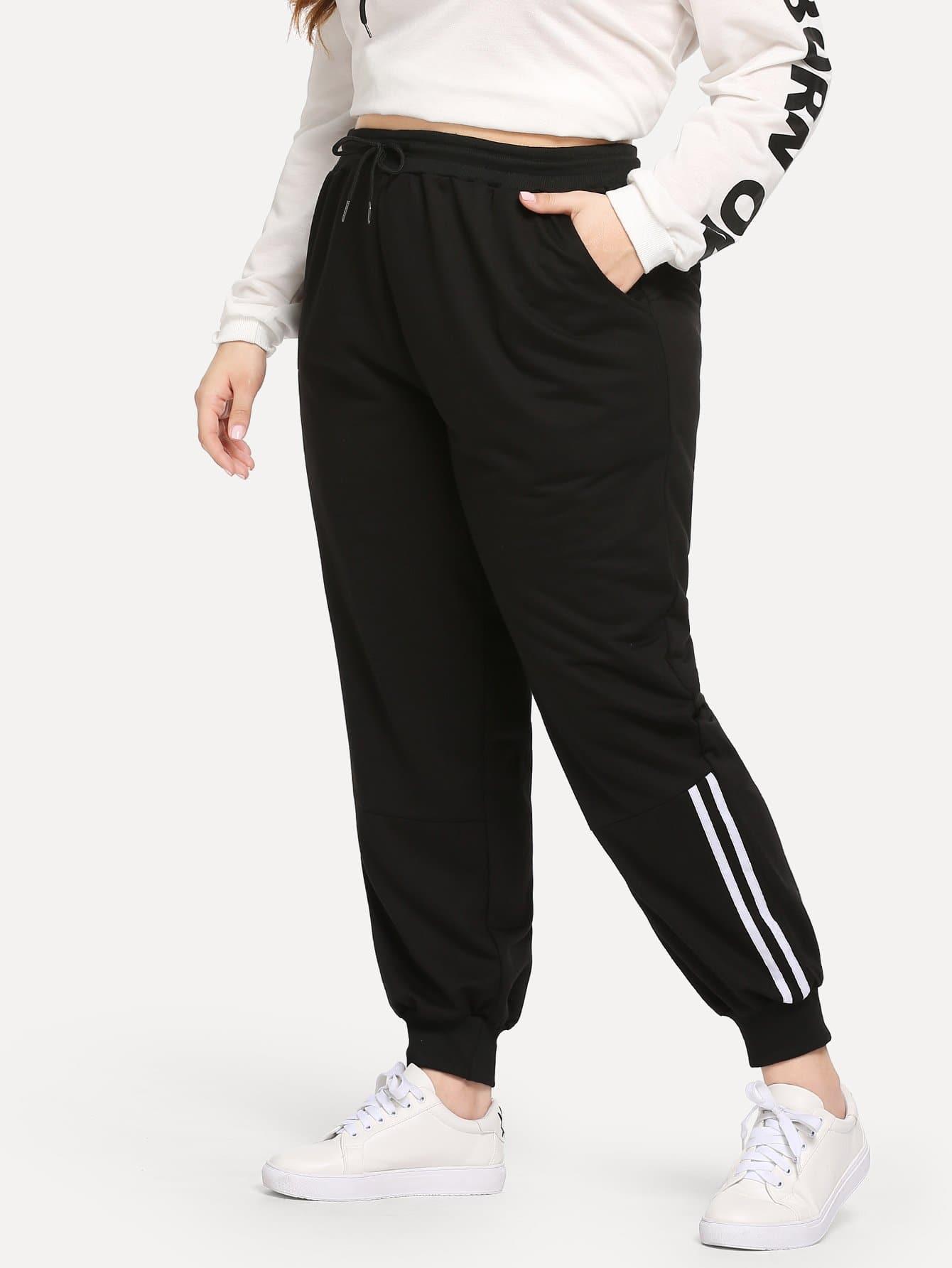 Фото - Размера плюс полосатые брюки униформы с кулиской от SheIn цвет чёрные