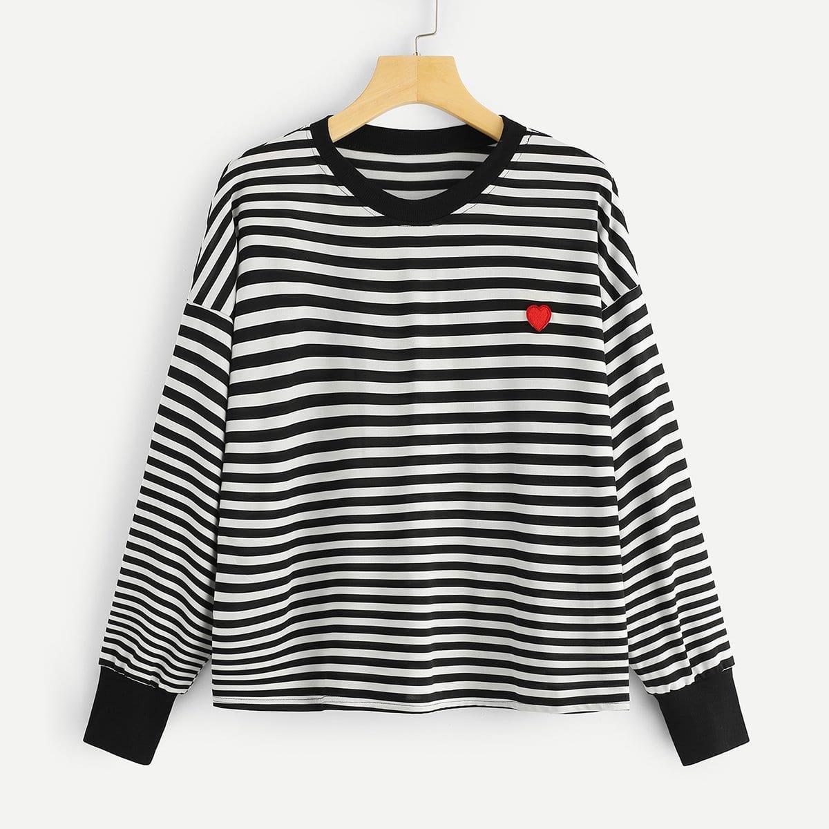 Gestreepte sweatshirt met print