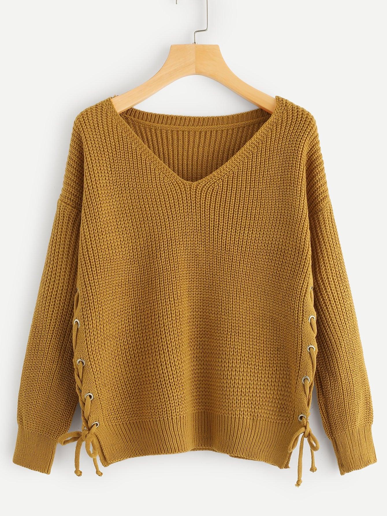 Фото - Одноцветный свитер с шнурками и V-образным вырезом от SheIn коричневого цвета