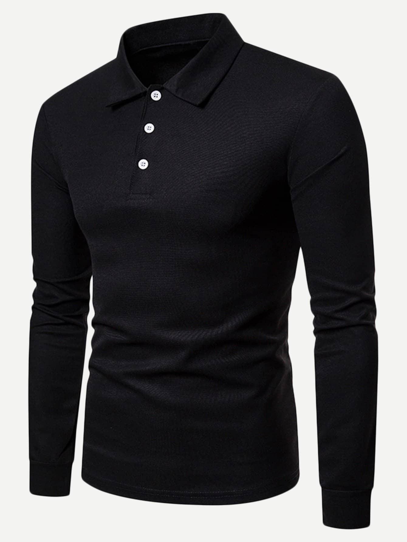Купить Мужская одноцветная поло футболка, null, SheIn