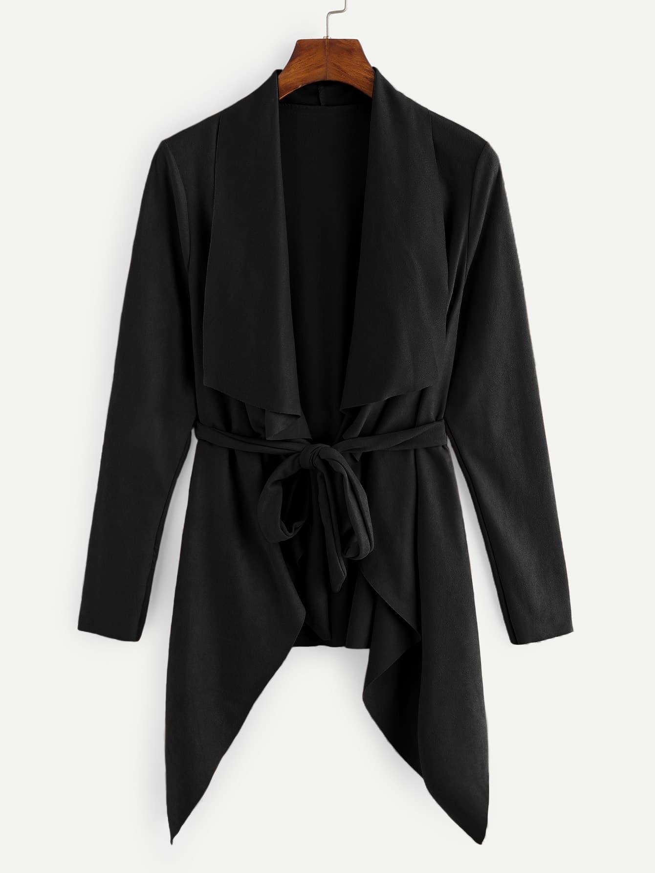 Фото - Утеплённое одноцветное пальто с воротником до плеч от SheIn черного цвета