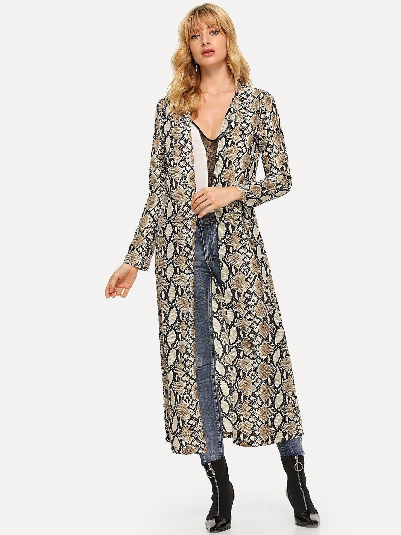 Фото - Длинное пальто с принтом змеи от SheIn цвет многоцветный