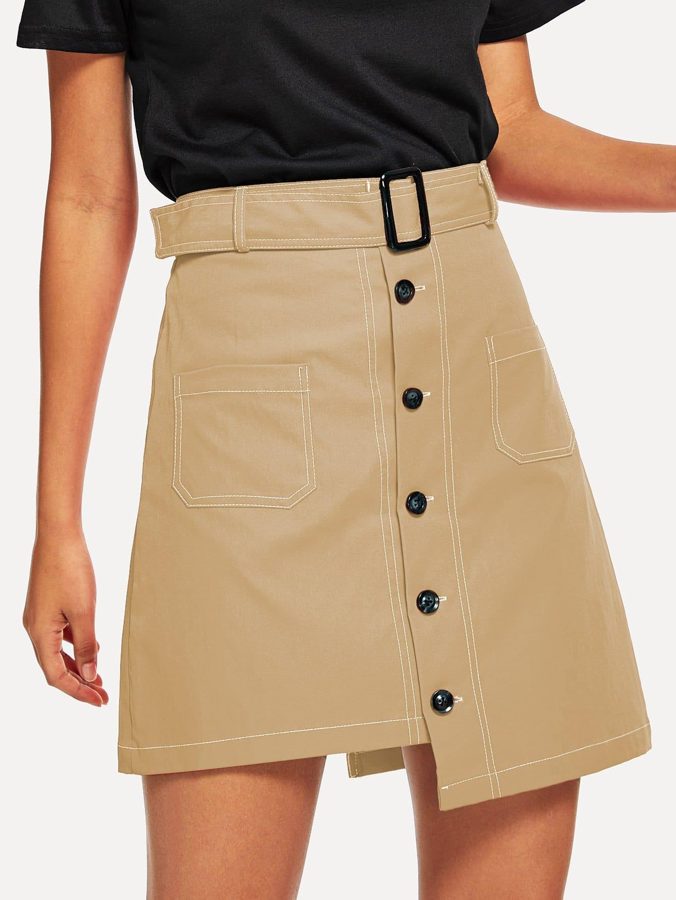 Фото - Однобортная асиммтеричная юбка с поясом от SheIn цвета хаки