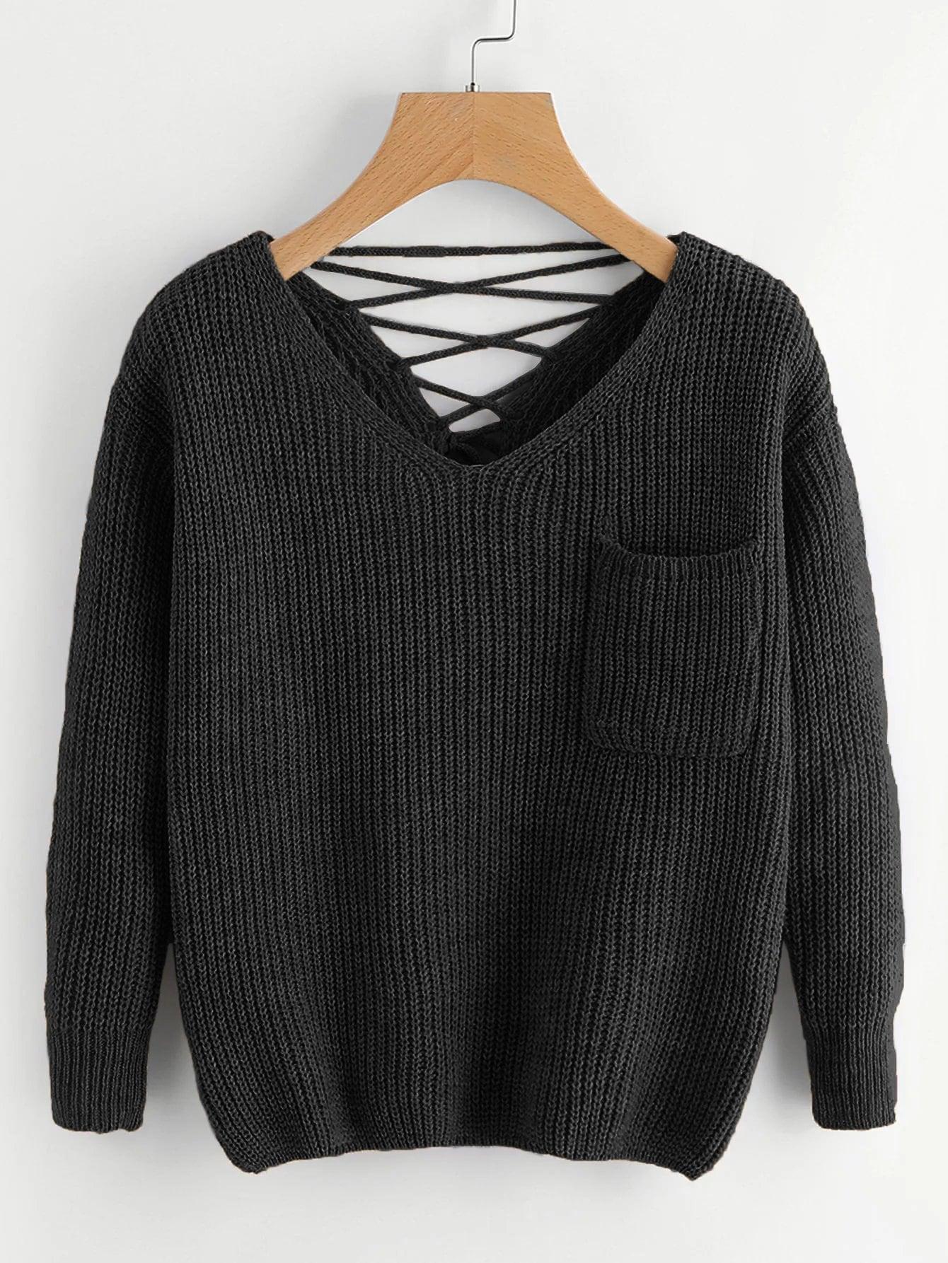Фото - Вязаный свитер с шнурками назад и двумя V-образного выреза от SheIn черного цвета