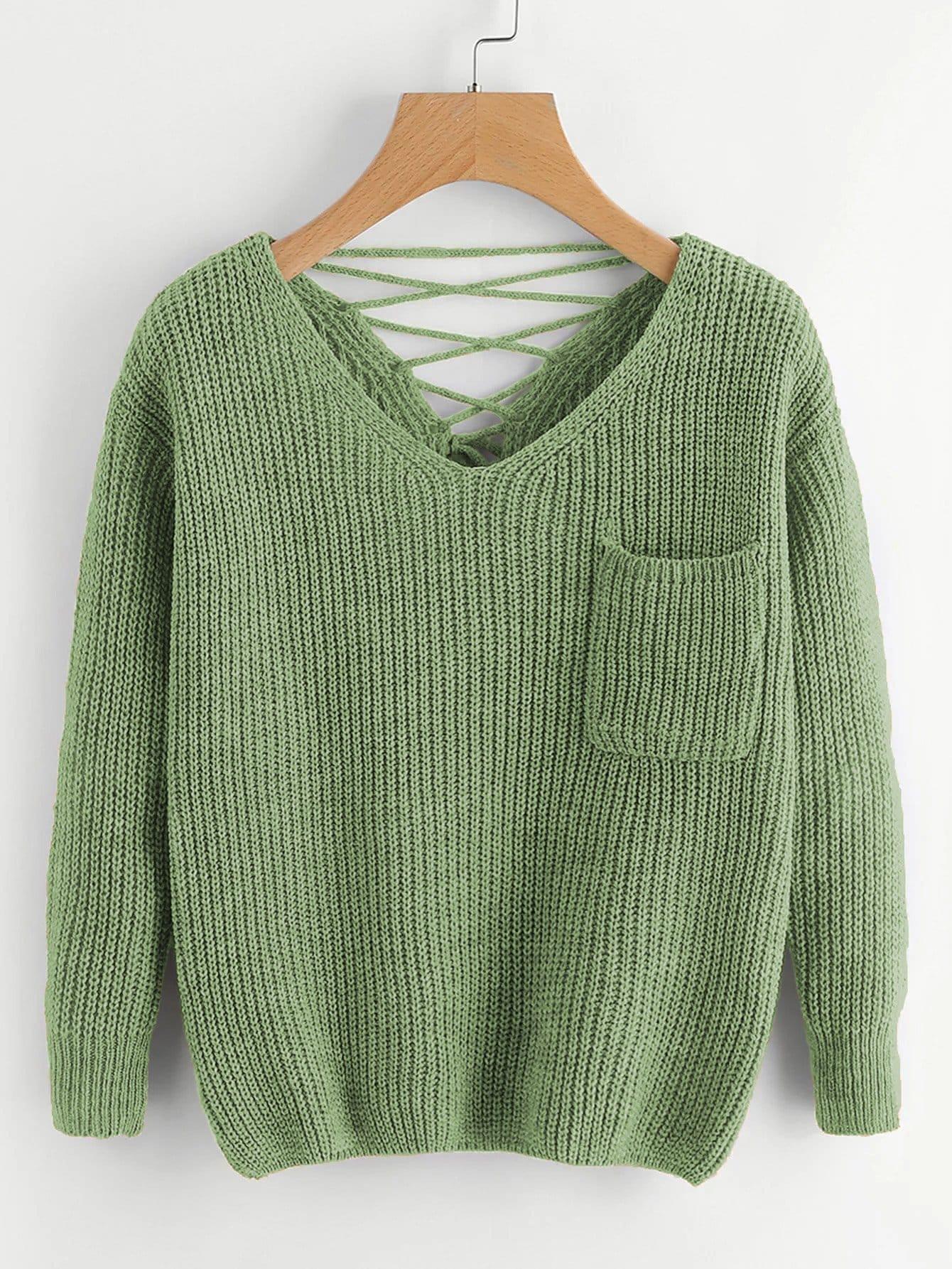 Фото - Вязаный свитер с шнурками назад и двумя V-образного выреза от SheIn цвет зелёный