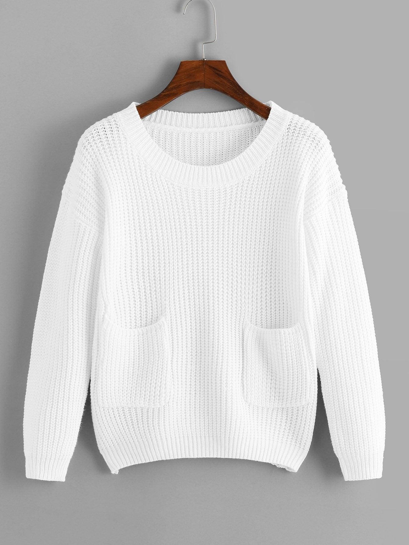 Фото - Одноцветный свитер с карманами от SheIn белого цвета