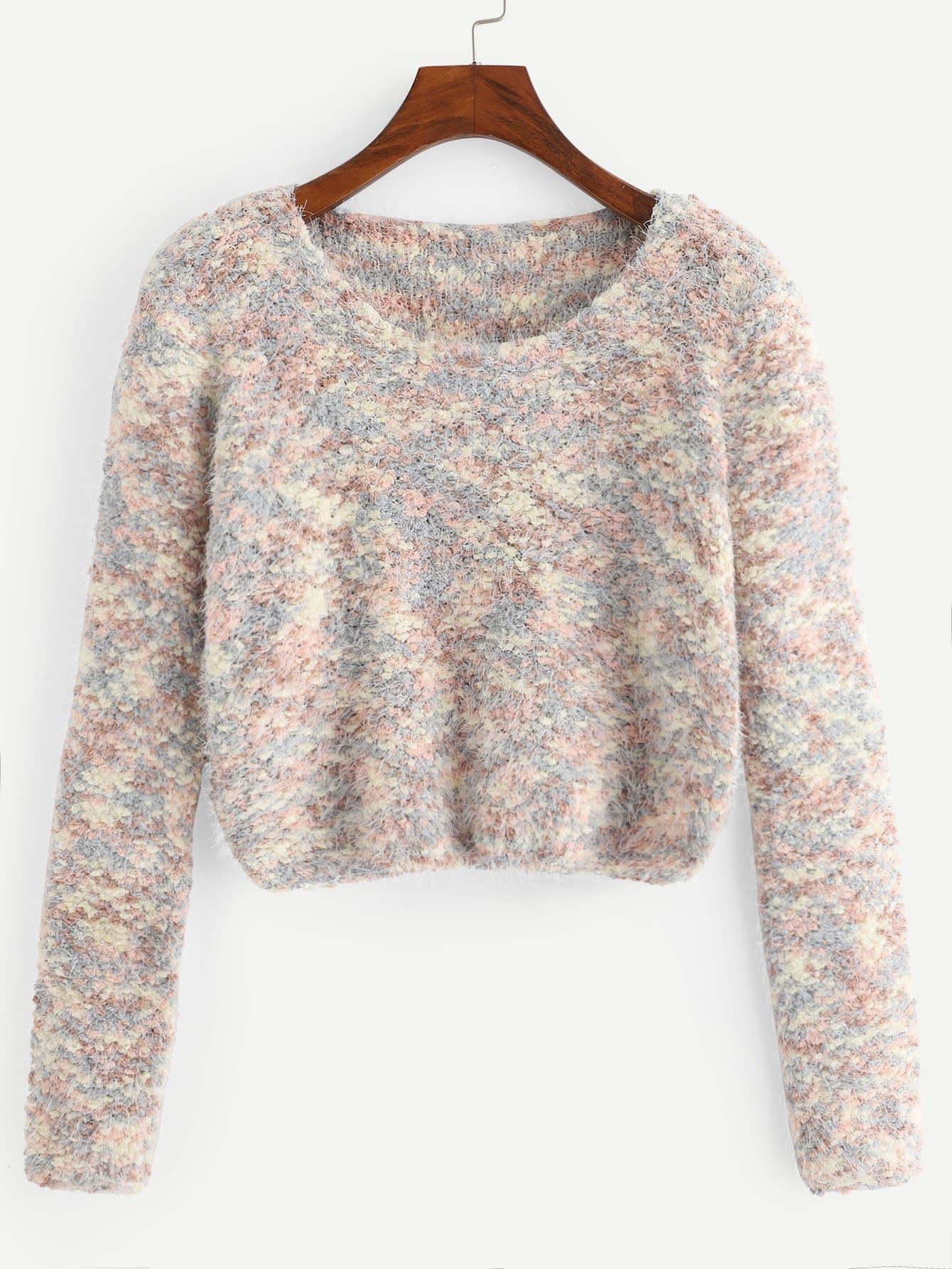Фото - Разноцветный вязаный кроп свитер от SheIn разноцветного цвета