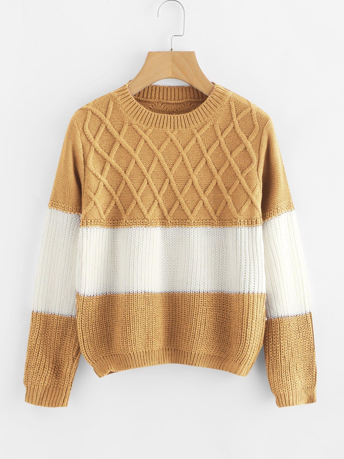 Фото - Контрастный свитер от SheIn разноцветного цвета