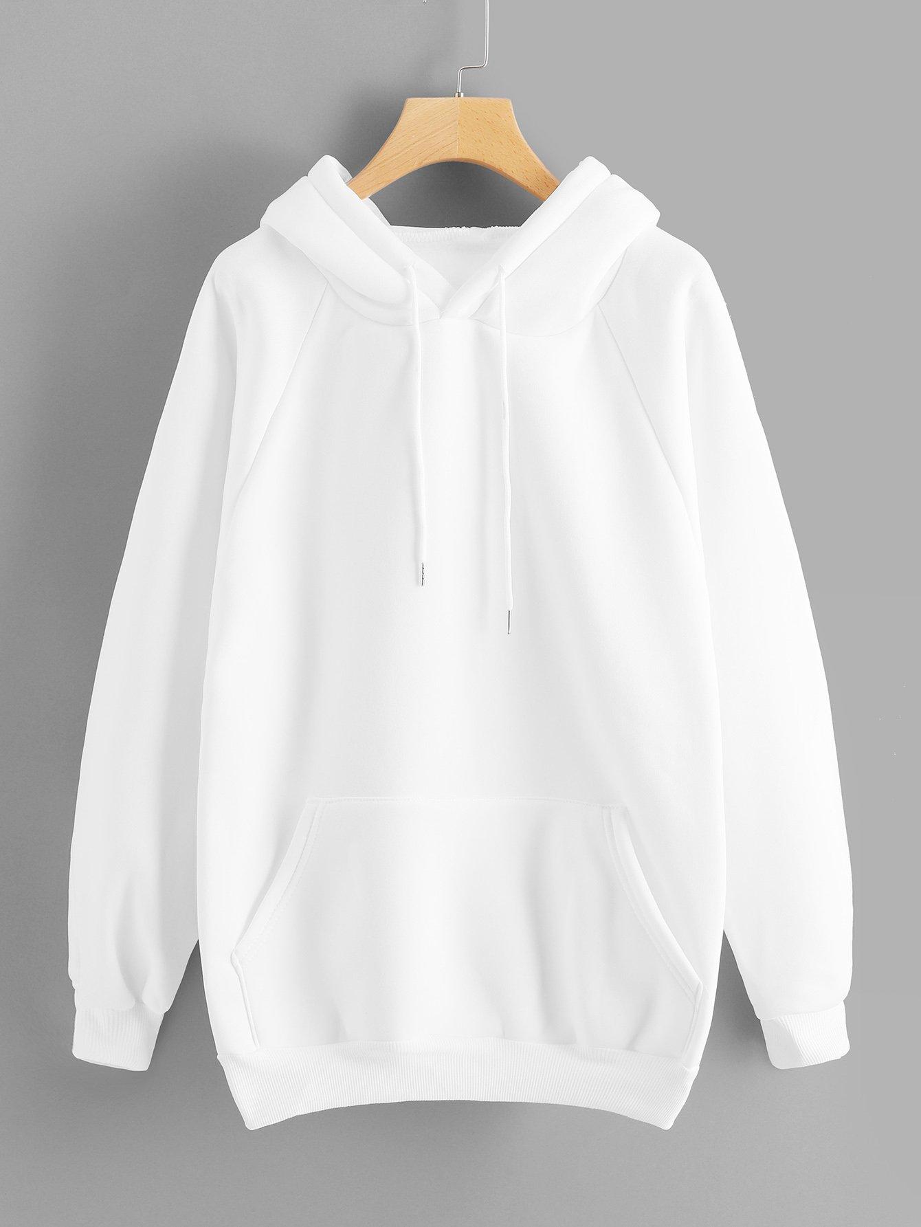 Фото - Толстовку с карманами и рукав-регланами от SheIn белого цвета