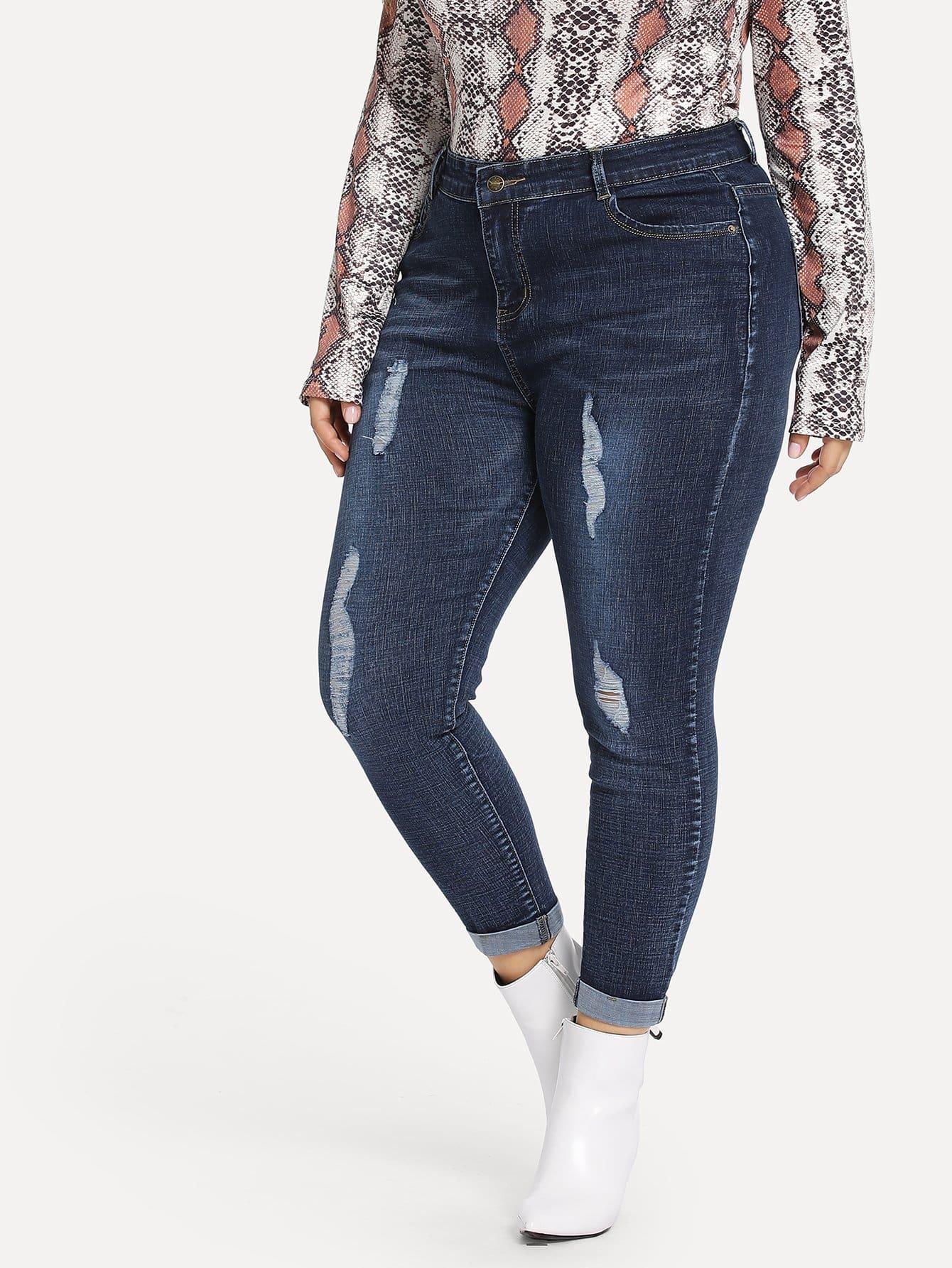 Купить Размера плюс рваные выцветшие джинсы, Franziska, SheIn