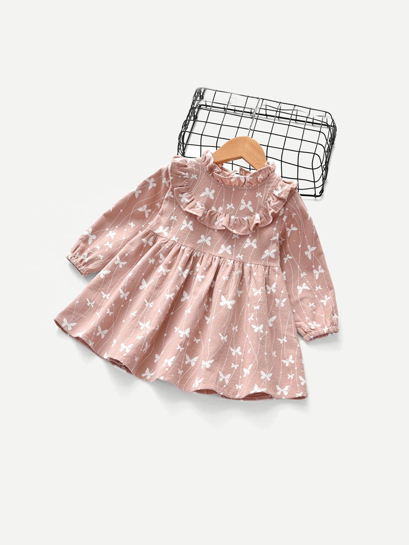 Купить Платье с кружевными оборками с принтом бабочки для маленьких девочек, null, SheIn