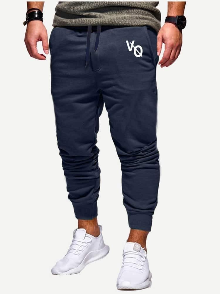 Купить Мужские брюки с текстовым принтом, null, SheIn
