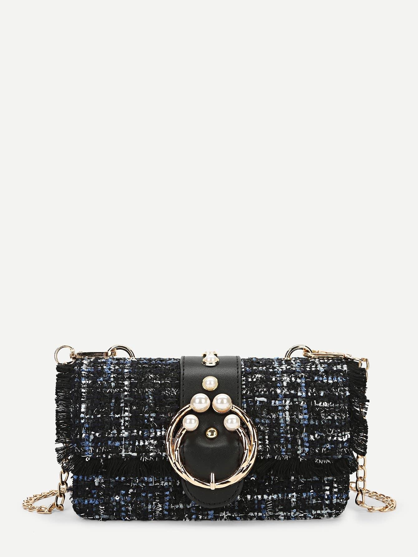 Фото - Твидовая сумка через плечо с цепью и искусственными жемчугами от SheIn черного цвета