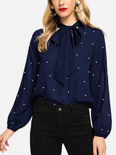 Tie Neck Faux Pearl Decor Blouse