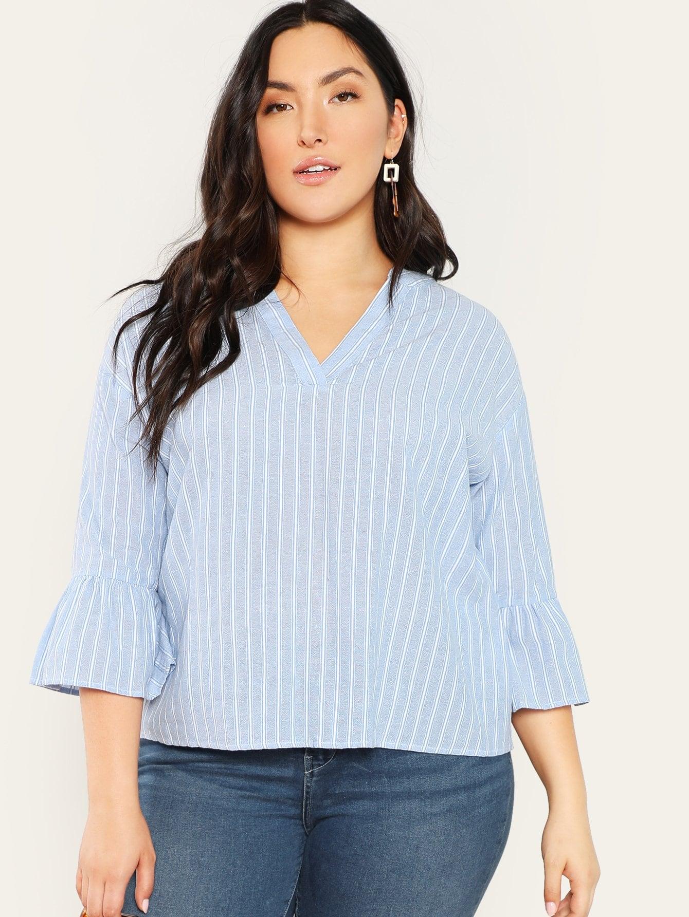 Купить Большая блуза с V-образным вырезом и рукав розеткой, Yumi, SheIn